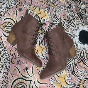 Brown suede lace up booties!